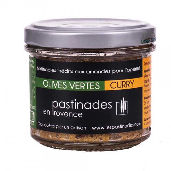 Pastinades grüne Oliven mit Curry Aperitif Creme