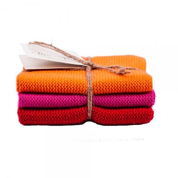Solwang Wischtuch 3er Orange Pink Rot