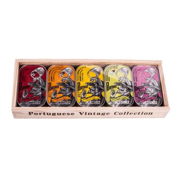 Porthos | Sardinendosen Geschenk in Holzkiste | 5 x 125g