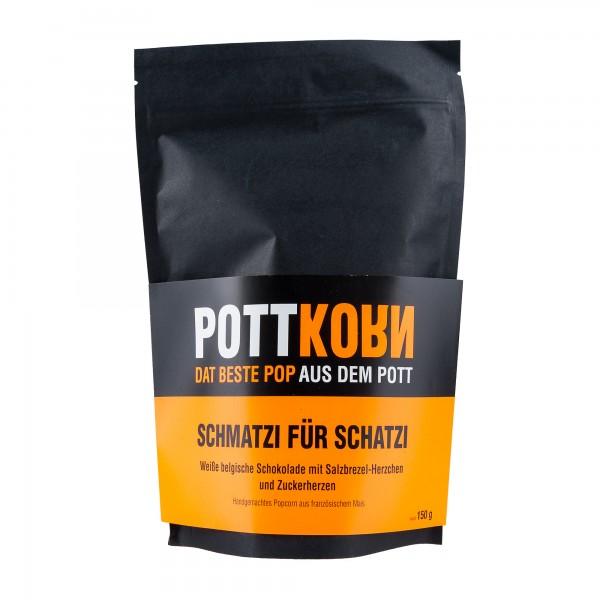 Pottkorn Schmatzi für Schatzi | Handgemachtes Popcorn | weiße Schokolade Salzbrezel Zuckerherzen
