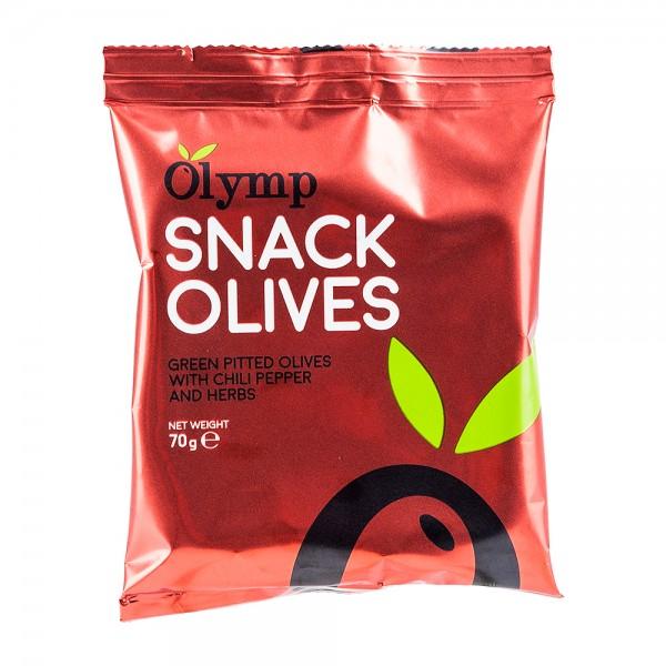 Olymp Snack-Oliven | grüne Oliven | Chili & Kräuter