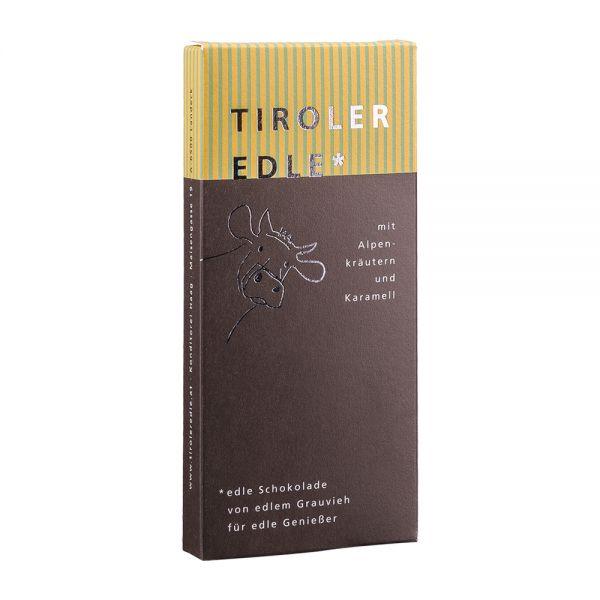 Tiroler Edle   Edelbitterschokolade mit Alpenkräutern und Karamell