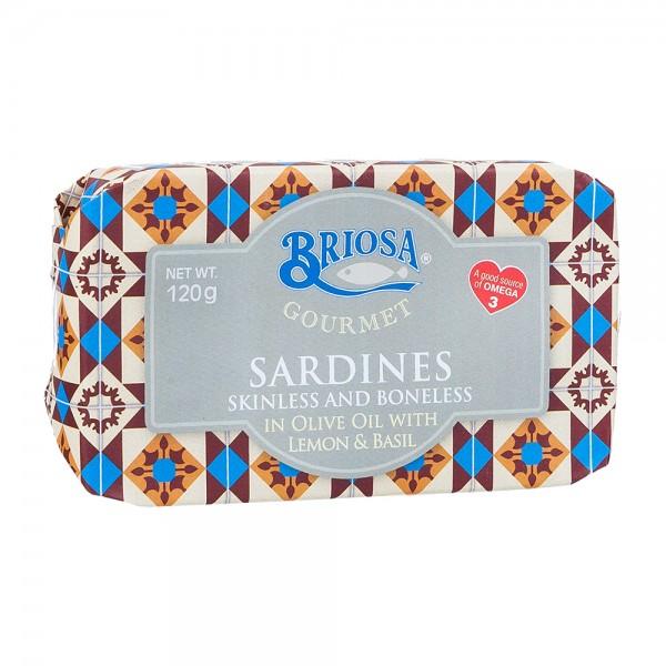 Briosa Gourmet Sardinen ohne Haut und Gräten in Olivenöl mit Zitrone und Basilikum