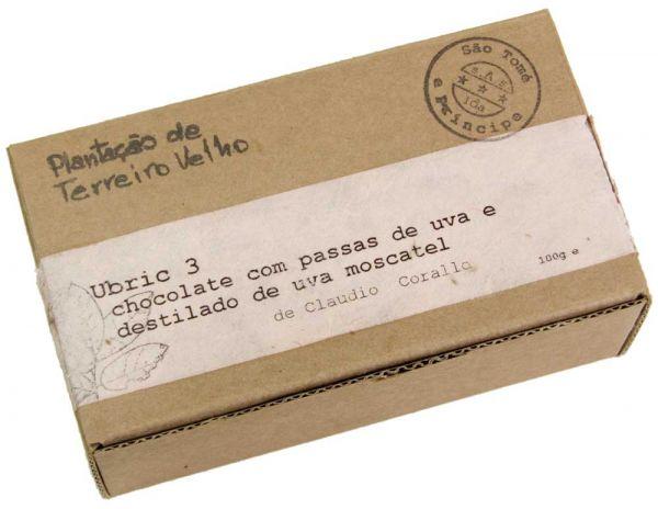 Claudio Corallo   dunkle Schokolade mit Rosinen   Ubric 3 Moscato 70%   100g