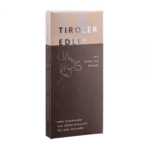 Tiroler Edle   Schokolade mit Zirbe und Nougat